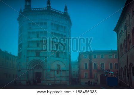 View Of Famous Baptistery At Duomo Square In Parma