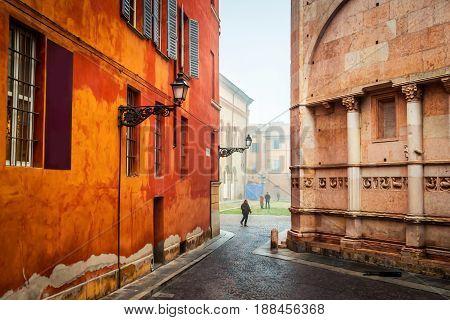 Old lane in Parma Emilia-Romagna Italy. Architecture.