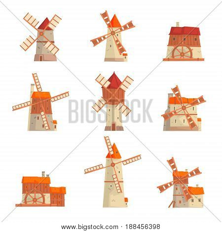 Rural windmills set. Collection of traditional windmills vector Illustrations isolated on a white background