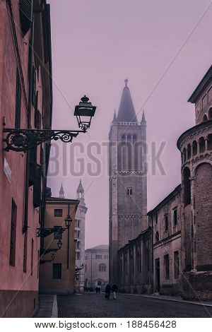 Street View Of Duomo Tower In Parma
