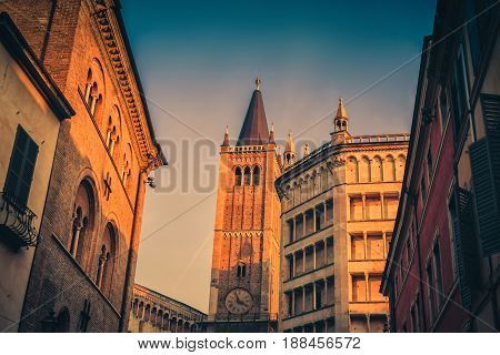 Famous Duomo Tower And Battistero In Parma