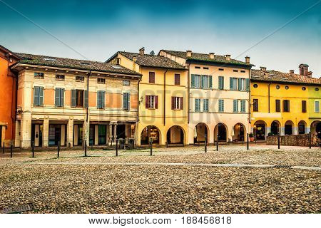 Houses On The Square The Medieval Town Of Fontanellato