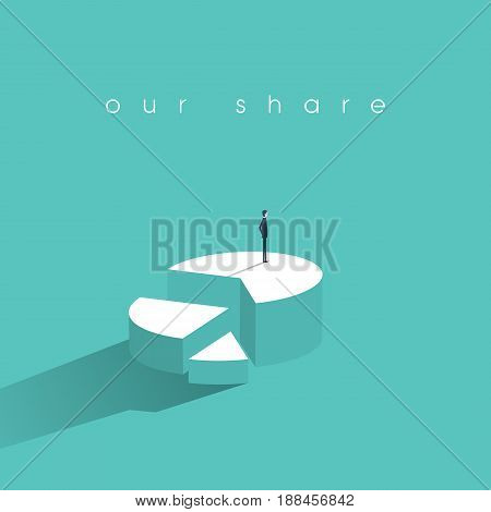 Business market share concept with businessman vector icon standing on top of pie chart. Eps10 vector illustration.