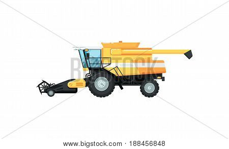 Agriculture combine harvester isolated vector illustration. Rural industrial farm equipment machinery, comercial transport, agricultural vehicle in flat design