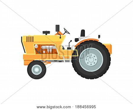 Vintage farm tractor isolated vector illustration. Rural industrial farm equipment machinery, comercial transport, agricultural vehicle in flat design