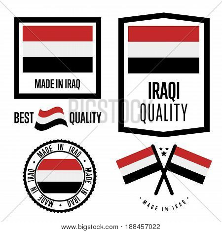 Iraq quality isolated label set for goods. Exporting stamp with iraqi flag, nation manufacturer certificate element, country product vector emblem. Made in Iraq badge collection.