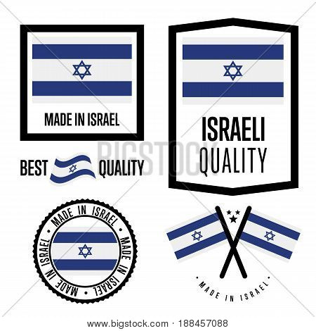 Israel quality isolated label set for goods. Exporting stamp with israeli flag, nation manufacturer certificate element, country product vector emblem. Made in Israel badge collection.