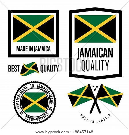 Jamaica quality isolated label set for goods. Exporting stamp with jamaican flag, nation manufacturer certificate element, country product vector emblem. Made in Jamaica badge collection.