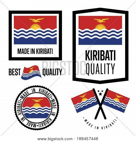 Kiribati quality isolated label set for goods. Exporting stamp with nation flag, manufacturer certificate element, country product vector emblem. Made in Kiribati badge collection.