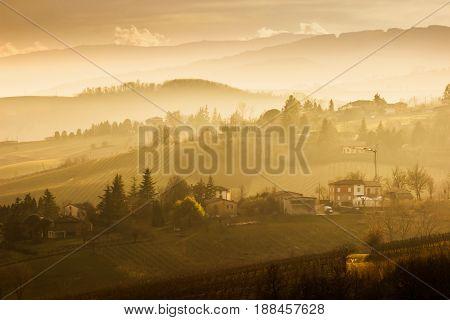 Beautiful Landscape With Hills At Sunset In Emilia-romagna Region