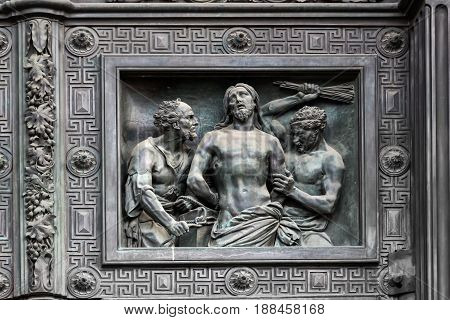 Bas-relief on the door of Isaac cathedral in Saint Petersburg Russia.