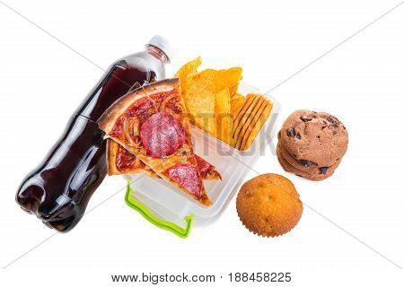 Unhealthy school lunch, isolated on white background