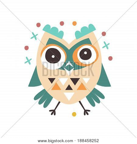 Cute cartoon dizziness owl bird colorful character vector Illustration isolated on a white background