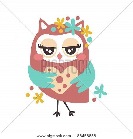 Cute cartoon flirtatious owl bird colorful character vector Illustration isolated on a white background