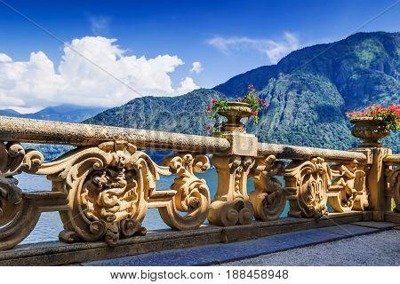 View of classic terrace in the park of villa Balbianello Como lake Italy.