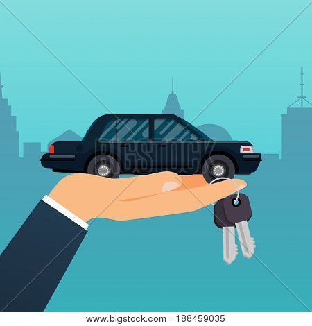Car seller hand holding key to buyer. Selling leasing or renting car service. Flat design modern vector illustration concept.