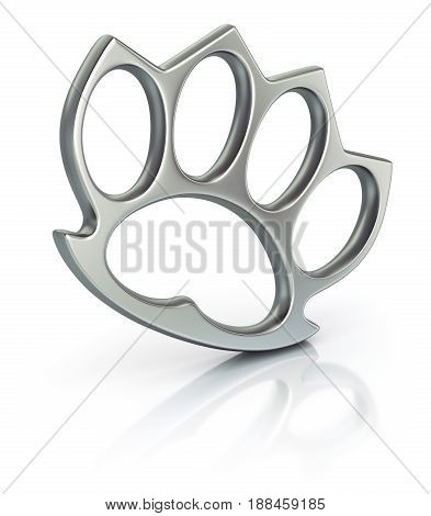 Iron knuckles on white reflective background - 3d illustration