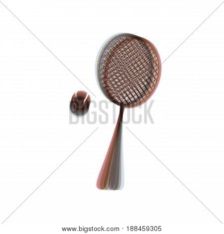 Tennis racquet with ball sign. Vector. Colorful icon shaked with vertical axis at white background. Isolated.