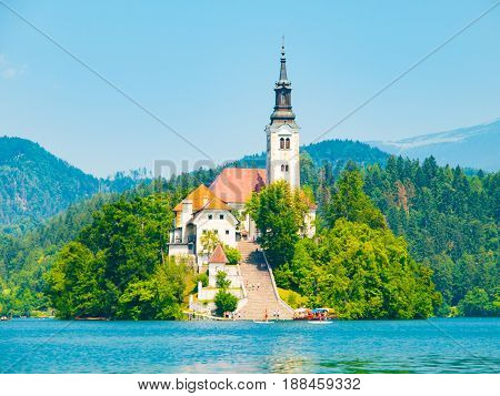 Baroque Church of the Assumption of Saint Mary on Bled Island, Lake Bled, Julian Alps, Slovenia, Europe.