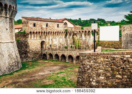 Fortification Of Fortezza Di Sarzanello Castle In Sarzana