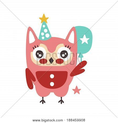 Cute cartoon owl bird in a party hat with balloon colorful character vector Illustration isolated on a white background
