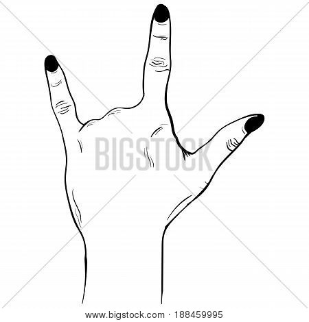Hand gesture sketch. Rock and Roll symbol. Illustration isolated on white background