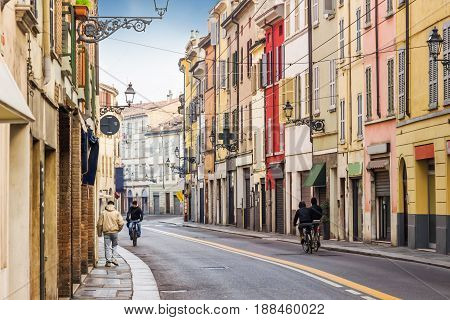 Old street in Parma Emilia-Romagna Italy. Old architecture.
