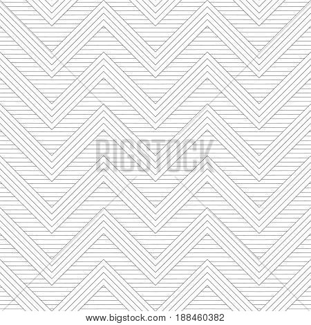 Vector seamless pattern. Modern stylish texture in the form of zigzags waves. Regularly repeating geometric shapes zigzag thin lines. Vector element of graphical design