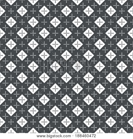 Vector seamless pattern. Simple elegant texture. Regularly repeatition geometrical shapes dotted crosses and rhombuses. Vector element of graphical design