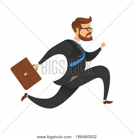 Businessman with a briefcase running, jumping. On a white background. Vector illustration