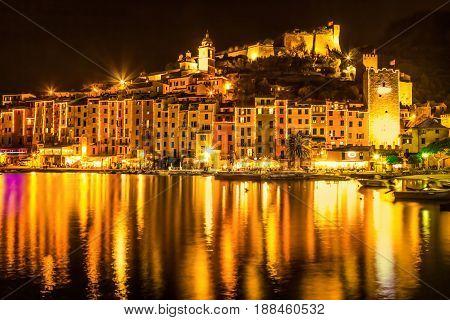 Scenic old Portovenere in the night Liguria Italy.