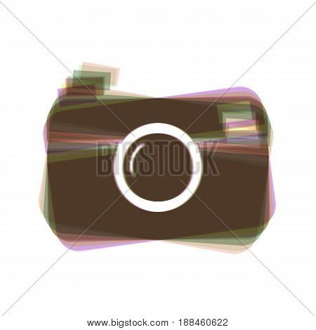 Digital photo camera sign. Vector. Colorful icon shaked with vertical axis at white background. Isolated.