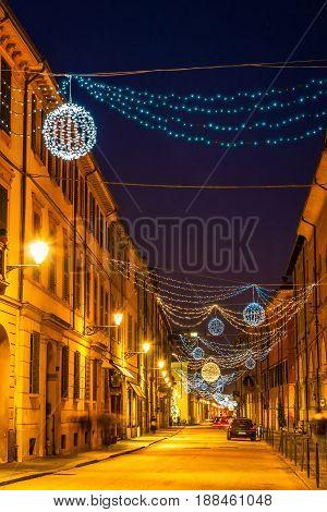 Beautiful Night Street In Reggio Emilia
