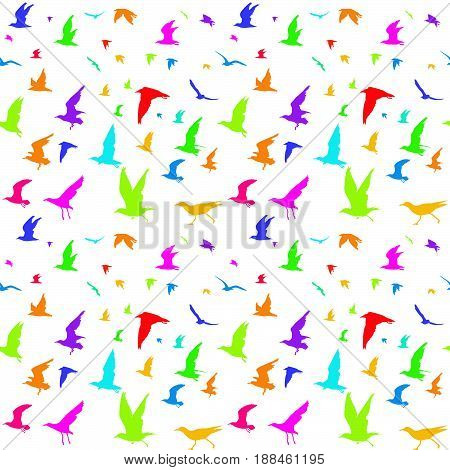 Colorful birds silhouettes seamless pattern on white background