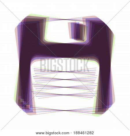 Floppy disk sign. Vector. Colorful icon shaked with vertical axis at white background. Isolated.