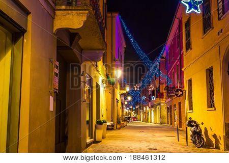 Old Lane Decorated For Christmas Holidays In Reggio Emilia