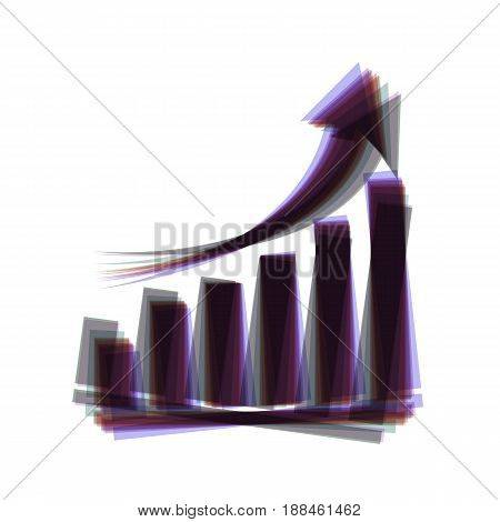 Growing graph sign. Vector. Colorful icon shaked with vertical axis at white background. Isolated.
