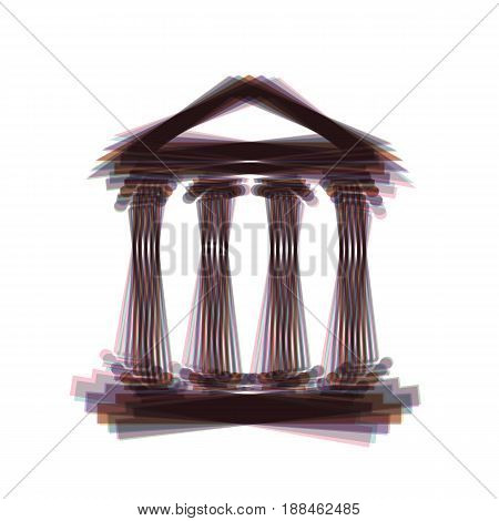 Historical building illustration. Vector. Colorful icon shaked with vertical axis at white background. Isolated.