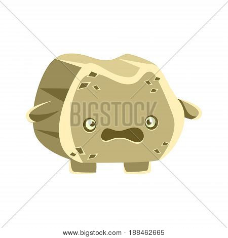 Cute gray bewildered rock element. Cartoon emotions character vector Illustration isolated on a white background