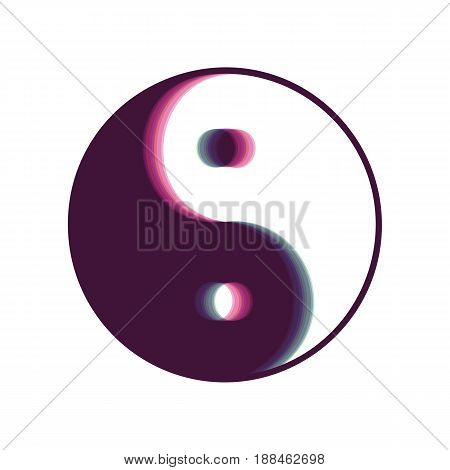 Ying yang symbol of harmony and balance. Vector. Colorful icon shaked with vertical axis at white background. Isolated.