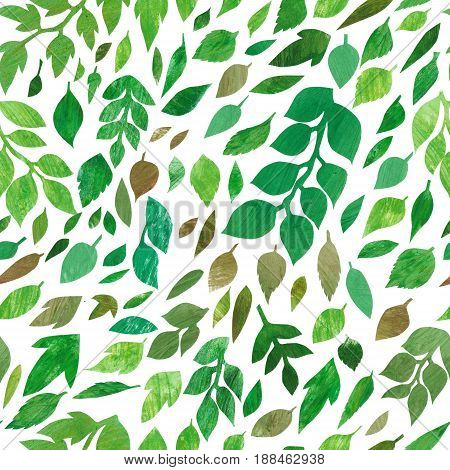 Handdrawn green leaves seamless pattern, textured background