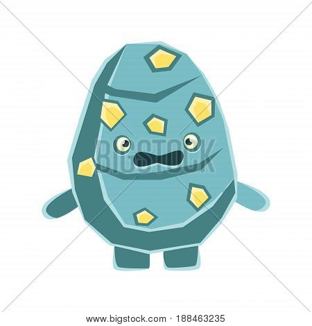 Cute dissatisfied blue rock element with yellow blotches. Cartoon emotions character vector Illustration isolated on a white background