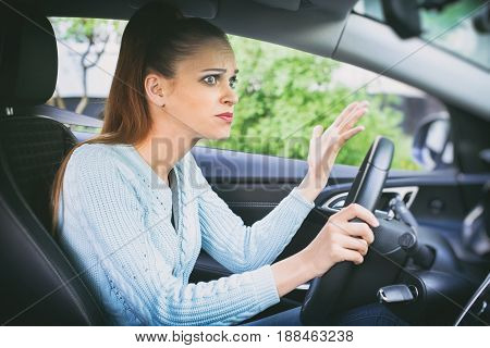 Scared Girl Driving A Car