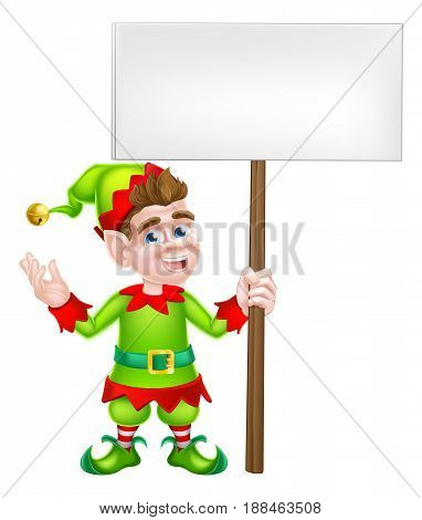 An illustration of a cute happy cartoon Christmas Elf or one of Santa s Christmas with a sign board helpers