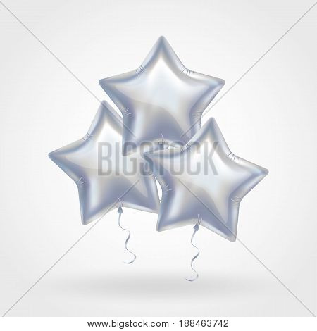 3 Three Silver star balloon on background. Party balloons event design decoration. Balloons isolated in air. Party decorations wedding, birthday, celebration, anniversary, award. Shine Silvern balloon