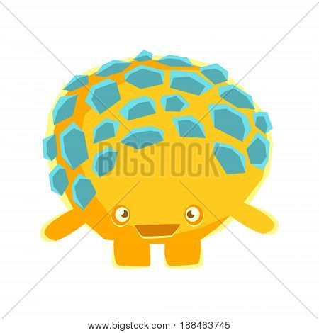 Cute yellow mossy stone with embarrassed face. Cartoon emotions character vector Illustration isolated on a white background