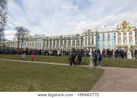Saint Petersburg, Russia,may 07, 2017:Queue of visitors to the Great Catherine Palace in the suburbs of St. Petersburg, Pushkin