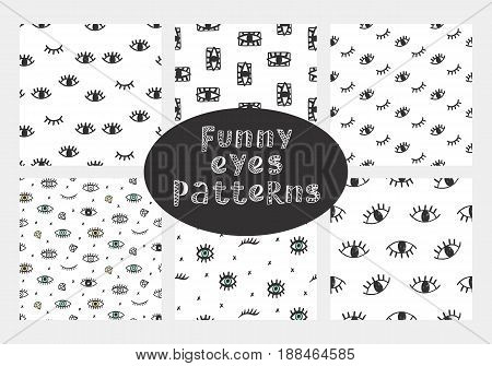 Vector hand drawn seamless patterns collection with funny open and winking eyes, isolated on white.