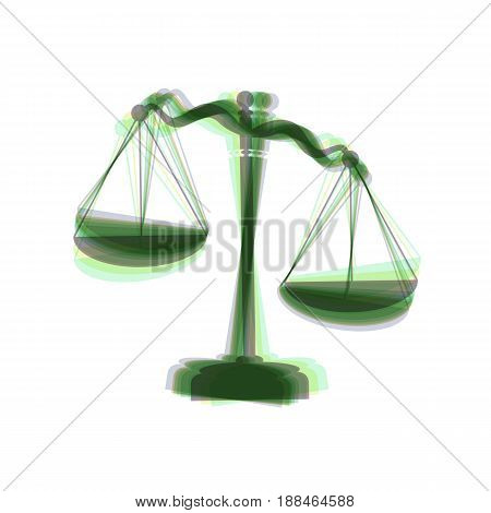 Scales of Justice sign. Vector. Colorful icon shaked with vertical axis at white background. Isolated.