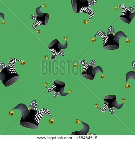 Jester Hat Seamless Pattern on Green Background